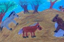 Aranyos rajzok: Vidács Nelli - Lovak a domboldalon